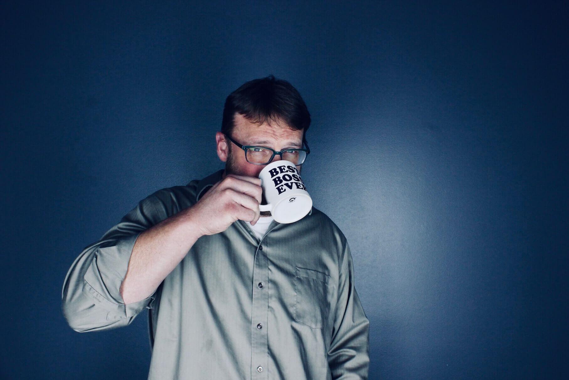 jeff hake drinking coffee